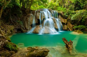 Photo free forest waterfall, national park, Thailand