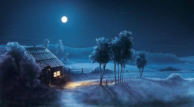 Заставки поле, дом, луна