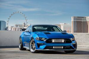 Заставки Ford Mustang, синий, парковка