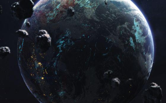 Астероидная атака планеты · бесплатное фото
