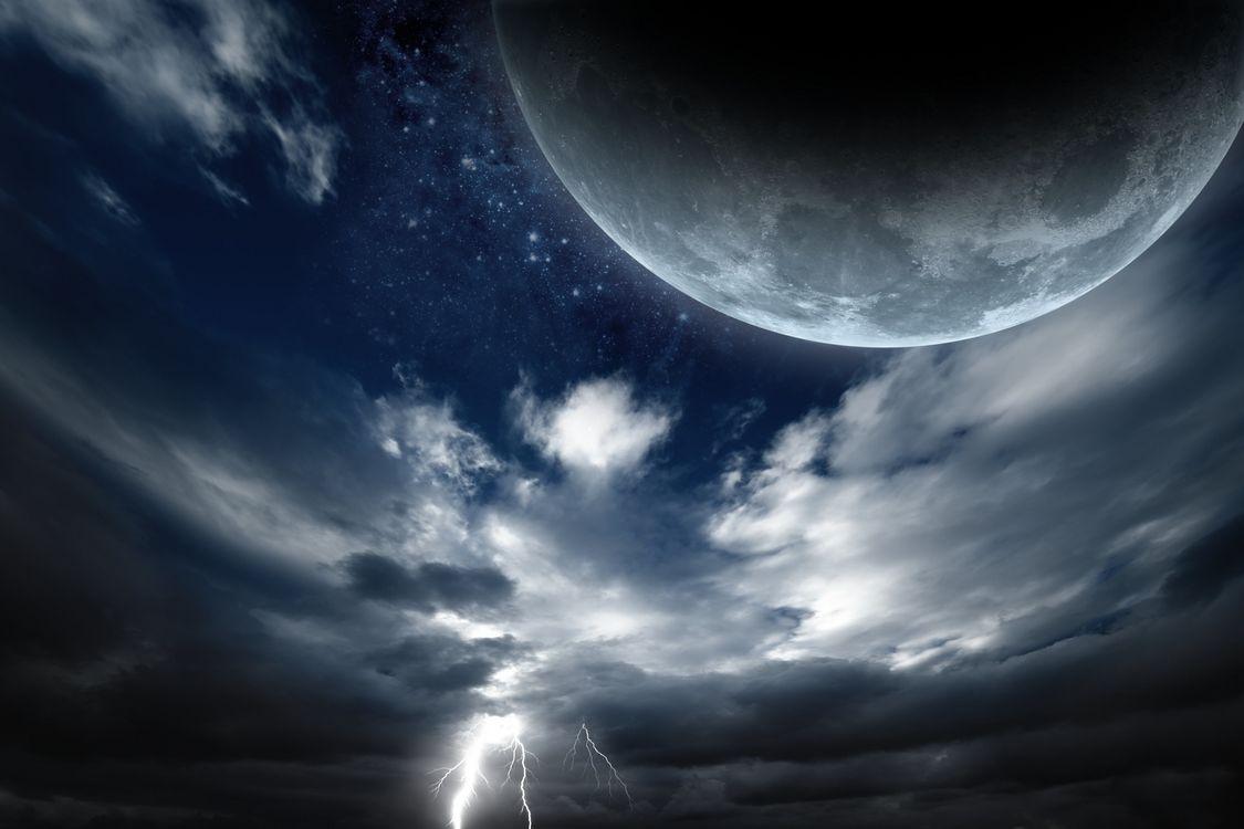 Фото бесплатно Луна, молнии, небо - на рабочий стол