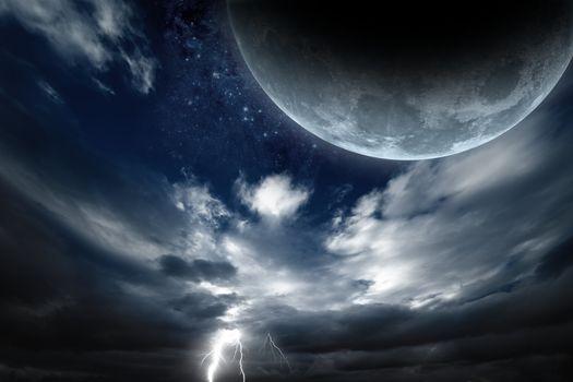 Фото бесплатно Луна, молнии, небо