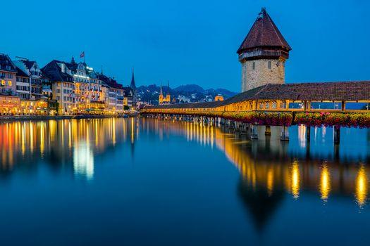 Фото бесплатно Люцерн, ночь, ночные города