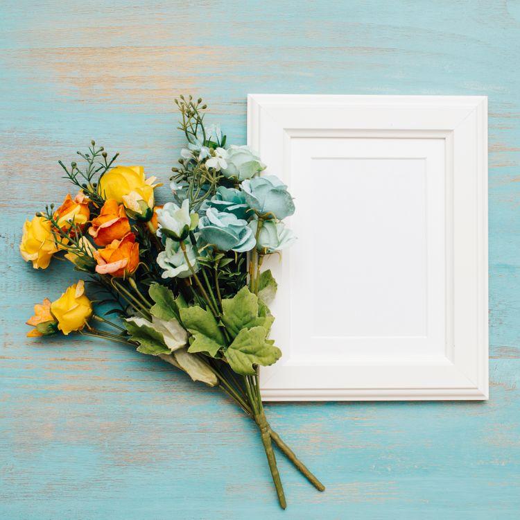 Фото бесплатно букет, рамка, декор, цветы - на рабочий стол