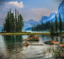Photo free landscape, Maligne Lake, spirit Island