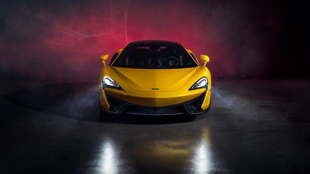 Заставки Макларен 570s, желтый, фары