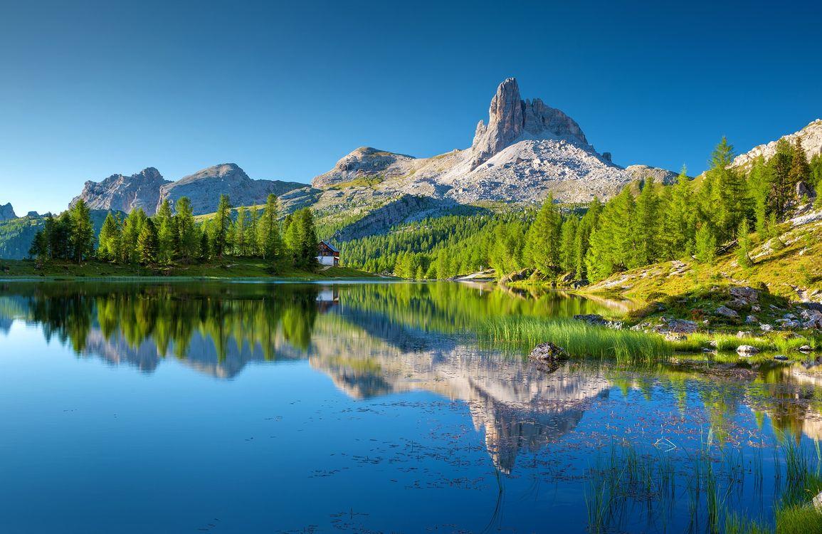 Фото озеро federa bergsee доломиты - бесплатные картинки на Fonwall