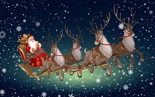 Фото бесплатно упряжка с дедом морозом, Happy New Year, merry christmas