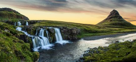 Бесплатные фото Kirkjufellsfoss,Kirkjufell,Киркьюфетль,Исландия,гора,водопад,речка