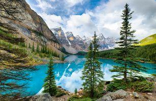 Заставки Lake Moraine,голубое озеро в горах,Canada,Озеро Морейн,Альберта,Канада,озеро