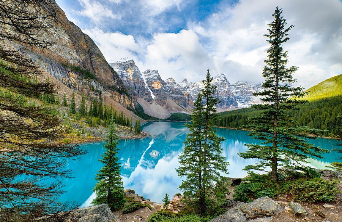 Фото бесплатно Lake Moraine, голубое озеро в горах, Canada, Озеро Морейн, Альберта, Канада, озеро, горы, деревья, скалы, пейзаж, пейзажи