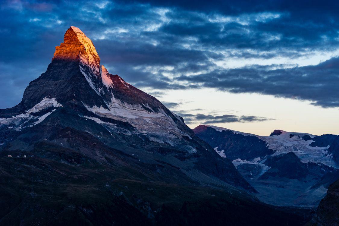Фото бесплатно синее, небо, облака, закат, вдохновлять, восход, горы, Суннегга, поход, туризм, снег, швейцария, Zermatt, пейзажи - скачать на рабочий стол