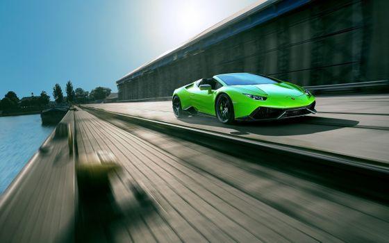 Photo free Hurukan Lamborghini, green, road