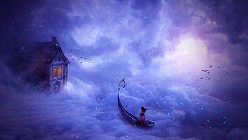 Бесплатные фото фантастика,небо,лодка,девушка,облака,домик,фантазия