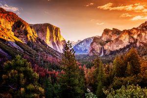 Бесплатные фото Yosemite National Park,California,Национальный парк Йосемити,осень,горы леса,водопад,закат