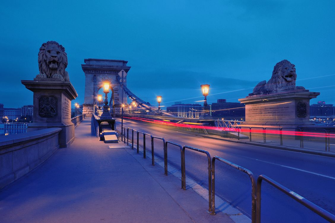 Фото бесплатно Цепной мост, закат, Венгрия - на рабочий стол