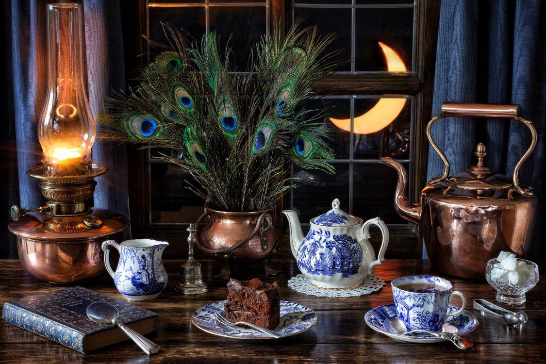 Фото бесплатно антиквариат, котел, перья павлина, чайная чашка, чай, Кекс, натюрморт, керосин, парафин, масляная лампа, медь, чайник, разное