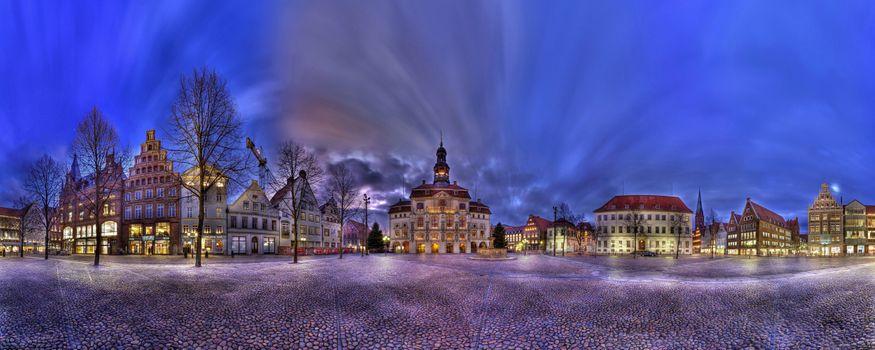Бесплатные фото Рынок Люнебурга,Люнебург,Германия,ночь,иллюминация,площадь,дома,свет,панорама
