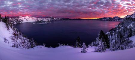 Бесплатные фото Crater Lake,Southern Oregon,Crater Lake National Park,Кратерное озеро,штат Орегон,США,зима