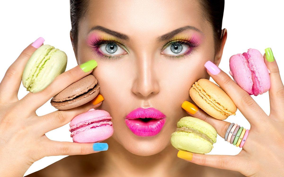 Фото макарон девушка макияж - бесплатные картинки на Fonwall