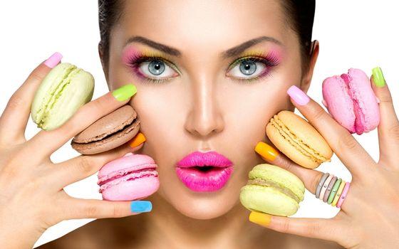Фото бесплатно макарон, девушка, макияж