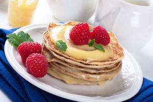 Бесплатные фото выпечка, блины, ягоды, малина, крем
