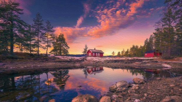 Фото бесплатно кабина, дом, мини-озеро