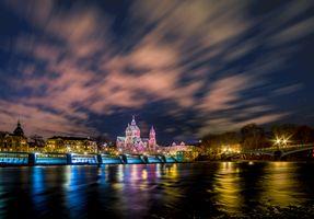 Бесплатные фото Церковь Святого Луки,Мюнхен,Германия,город,ночь,иллюминация,ночные города