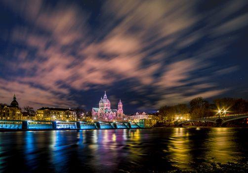 Фото бесплатно город, Мюнхен, ночной город