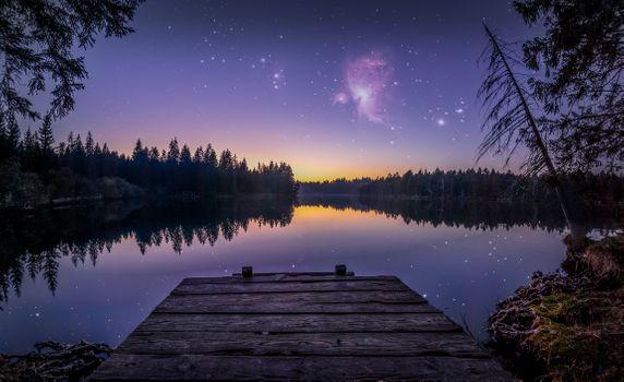 Фото бесплатно ночь, причал, речка