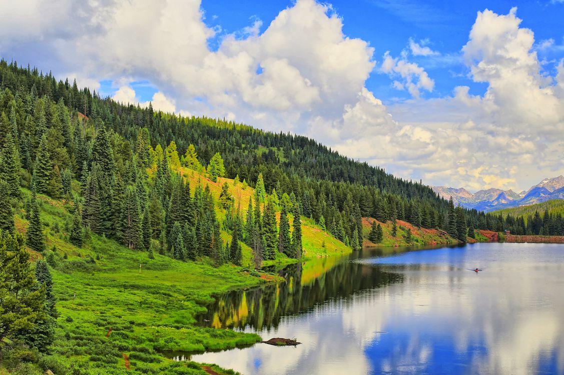Фото бесплатно озеро, горы, холмы - на рабочий стол