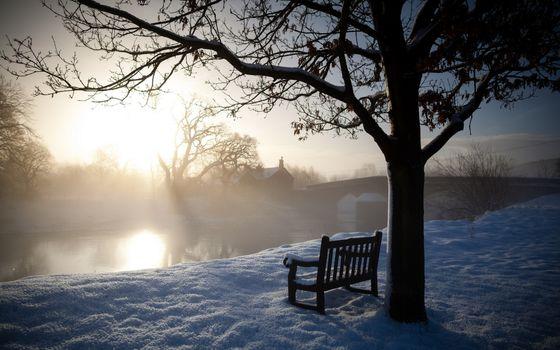 Фото бесплатно скамейки, мосты, рассвет