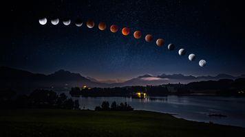 Фото бесплатно Lunar Eclipse, Forggensee, Bavaria