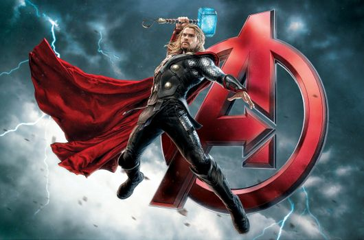 Бесплатные фото Мстители: Эра Альтрона,Тор,Крис Хемсворт,молния,супергерой,мёльнир,мстители