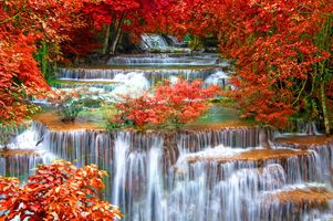 Photo free Thailand Seasons Autumn Waterfalls, Waterfalls Kanchanaburi, Kanchanaburi