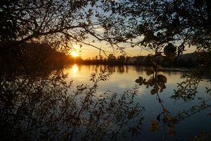 Заставки закат, озеро, отражение