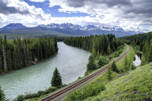 Заставки железная дорога, пейзаж, река