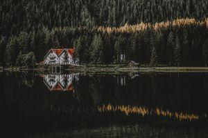 Бесплатные фото lakescape,озеро,лес,камень,свет,город,дом