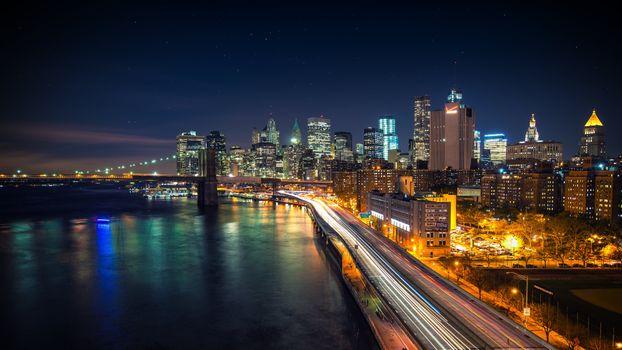 Фото бесплатно мост, залив, река, удивительно, красиво, город, свет, ночь, море, небо, звезды