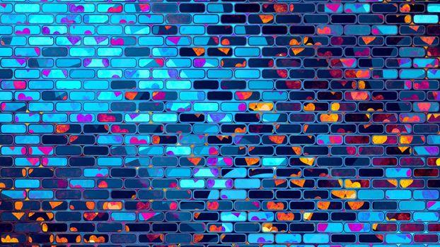 Фото бесплатно неоновый кирпич, стена, разное