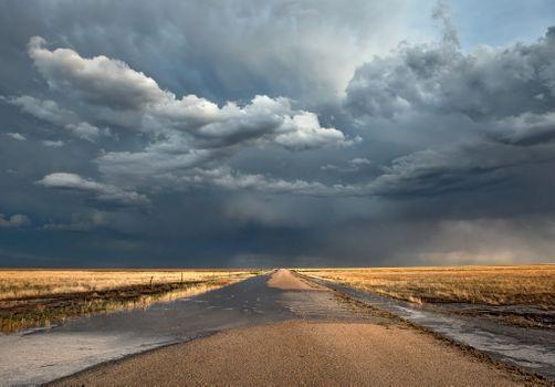 Photo free clouds, rain, road