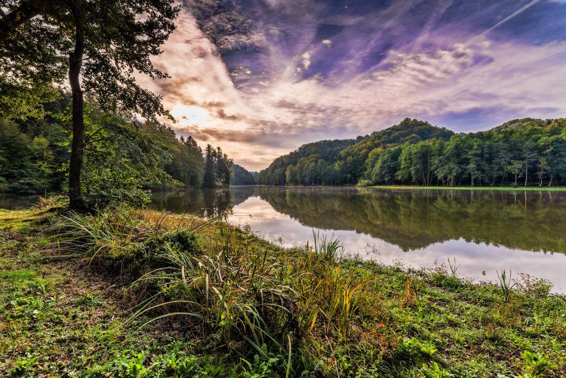 Фото бесплатно Самян, озеро, Тракошчан, Хорватия, утро, рассвет, закат, осень, Восход солнца, небо, деревья, природа, пейзаж, пейзажи