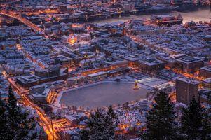 Бесплатные фото Bergen,Norway,Берген,Норвегия,город,ночь,огни