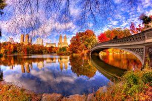 Бесплатные фото Центральный Парк,осень,Нью-Йорк,Боу-Бридж,Сан-Рино Башня,осень в городе