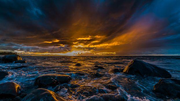 Photo free coastline, rocks, clouds