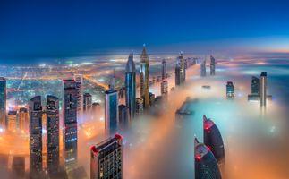 Заставки город, ночные города, туман