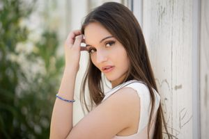 Photo free white dress, long hair, model