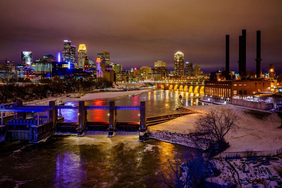 Фото бесплатно Minneapolis, Minnesota, река, мост, иллюминация, город, ночь, ночные города, привет-Q, город