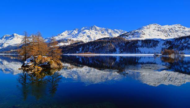 Бесплатные фото Швейцария,озеро,Bergsee,Граубюнден,горы,зима,остров,деревья,пейзаж