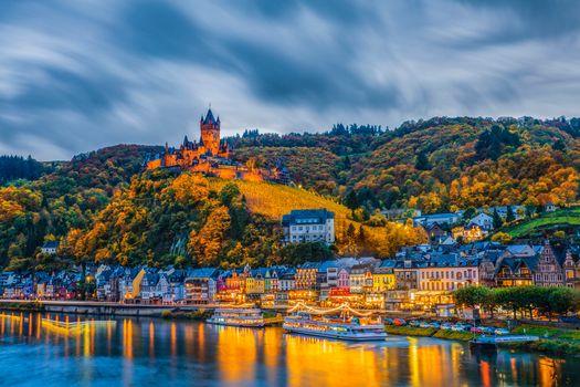 Бесплатные фото Cochem,Germany,Кохем,река Мозель,Германия в сумерках,Mosel,Кохем-Мозельская Долина,Замки Мозеля,мост,город,пейзаж